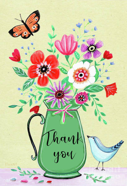 Painting - Flower Pot Thank You by Elizabeth Robinette Tyndall