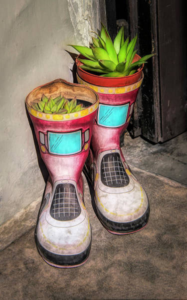 Photograph - Planter Boots At Door In Florence Italy by Gary Slawsky