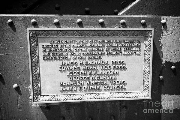 Wall Art - Photograph - Plaque On The Franklin-orleans Bridge Over The Chicago River Chicago Illinois United States Of Ameri by Joe Fox
