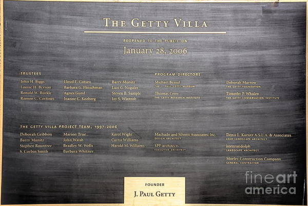 Wall Art - Photograph - Plaque The Getty Villa California  by Chuck Kuhn