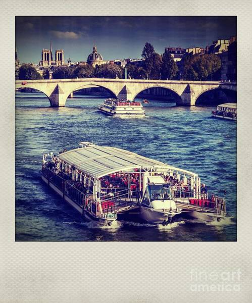 Wall Art - Photograph - Plaroid Effect. Riverboat Under Le Pont Royal. Paris. France. Europe by Bernard Jaubert