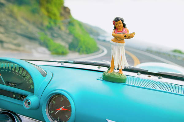 Kitsch Photograph - Plastic Hula Doll On The Dashboard Of A by Dana Edmunds