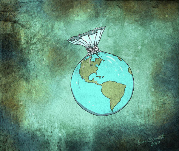 Earth Day Digital Art - Plastic Planet by Laura Ostrowski
