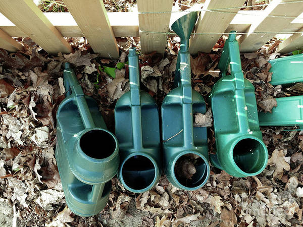 Wall Art - Photograph - Plastic Watering Cans by Tom Gowanlock