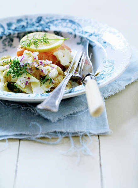 Vertical Line Photograph - Plate Of Pasta With Fish by Line Klein