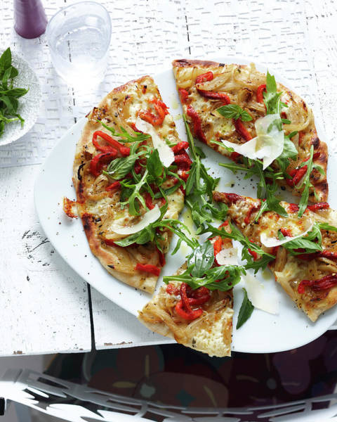 Pizza Photograph - Plate Of Sliced Wholemeal Pizza With by Brett Stevens