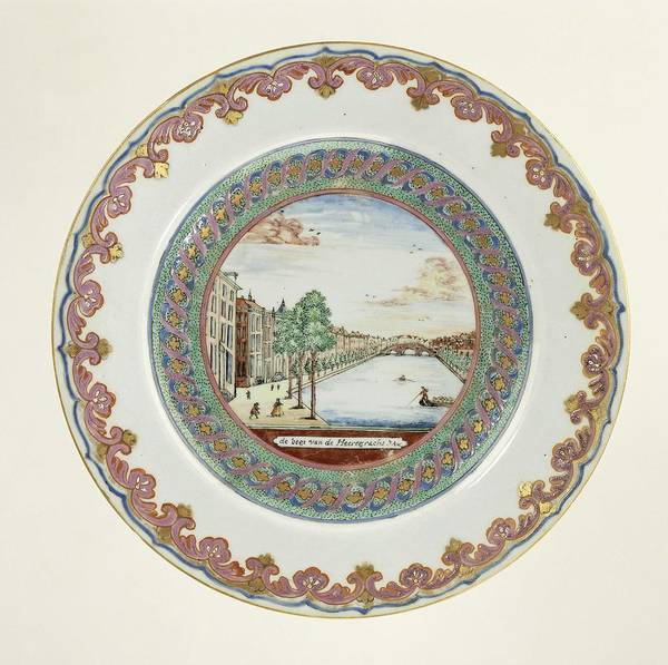 Wall Art - Painting - Plate With An Image Of The Golden Bend In The Herengracht, Amsterdam, Anonymous, C. 1774 by MotionAge Designs