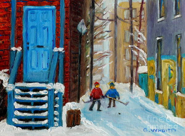 Boys Playing Hockey Painting - Plateau Mont Royal Laneway Hockey Practice Montreal Winter Scene Painting Near Blue House G Venditti by Grace Venditti