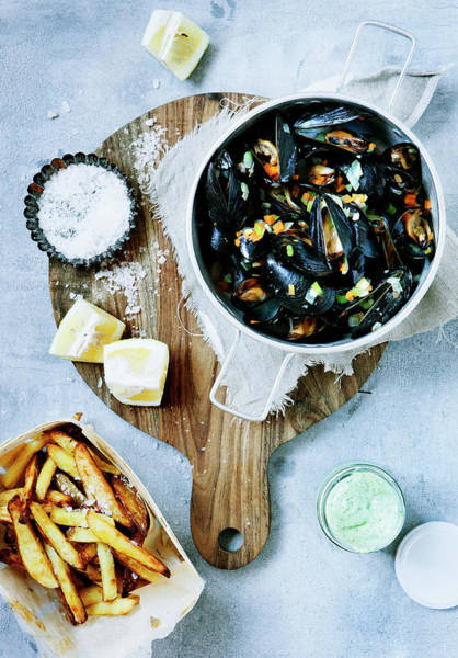 Mussel Wall Art - Photograph - Platter Of Steamed Mussels And Fries by Line Klein