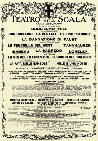Wall Art - Drawing - Playbill Poster For For La Scala, 1929-1930 Season by Italian School