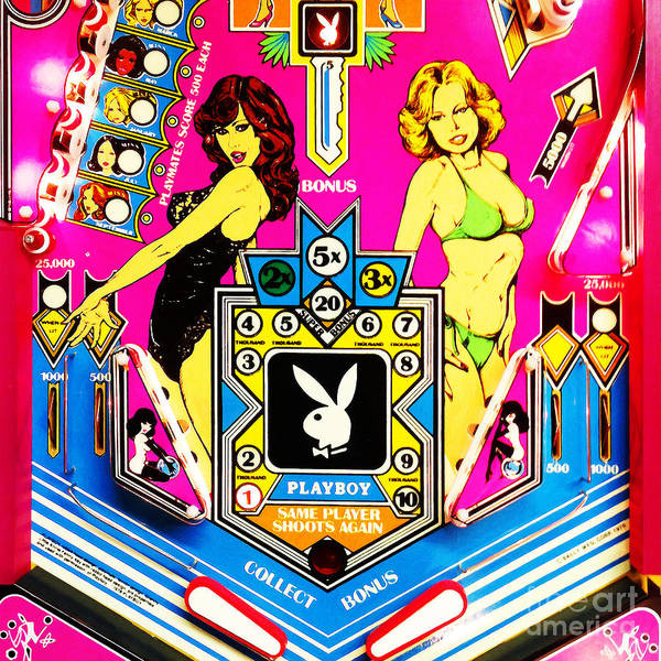 Photograph - Playboy Pinball Machine Arcade Nostalgia 20181221 Square by Wingsdomain Art and Photography
