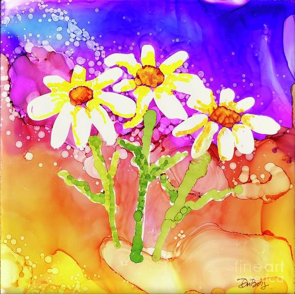 Painting - Playful Daisies by Lisa DuBois