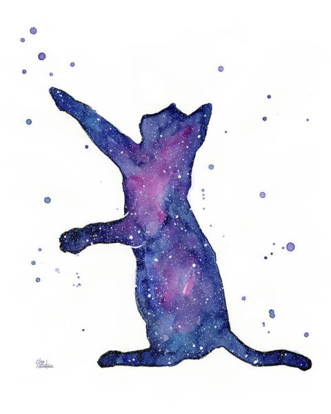 Night Painting - Playful Galactic Cat by Olga Shvartsur