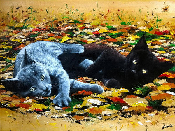 Painting - Playful Kittens by Ashley Koebrick Schmidt
