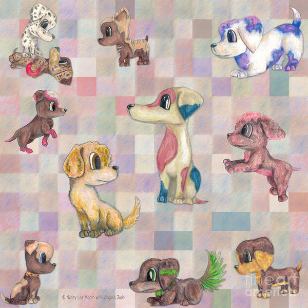 Wall Art - Mixed Media - Playful Puppy Dogs by Nancy Lee Moran