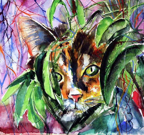 Wall Art - Painting - Playing Cat by Kovacs Anna Brigitta