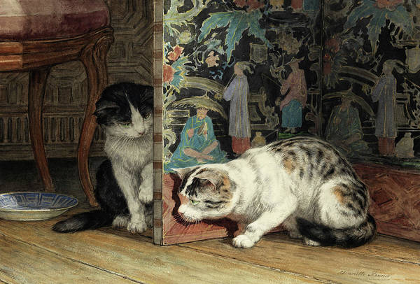 Kitten Play Wall Art - Painting - Playing Cats by Henriette Ronner-Knip