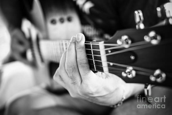 Wall Art - Photograph - Playing Guitar Close Up. Selective by Roongsak