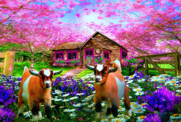 Flowering Trees Digital Art - Playing In The Garden by Debra and Dave Vanderlaan