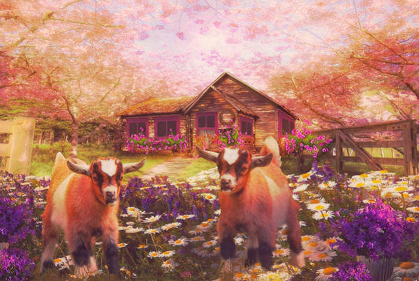 Digital Art - Playing In The Garden In Nostalgic Colors by Debra and Dave Vanderlaan