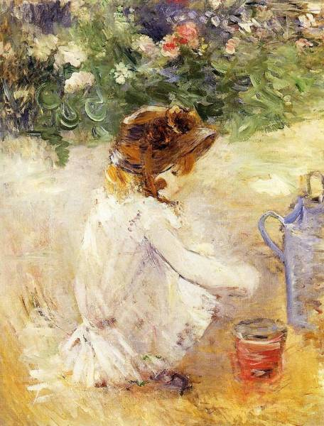 Wall Art - Painting - Playing In The Sand - 1882 - Pc by Berthe Morisot