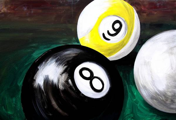 Painting - Playing Pool, Eight Ball, Nine, And Cue by J Vincent Scarpace