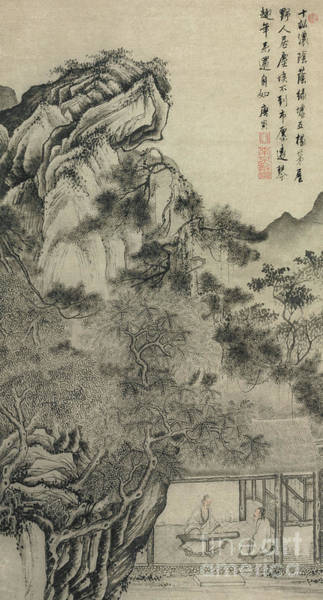 Wall Art - Painting - Playing The Zither by Tang Yin