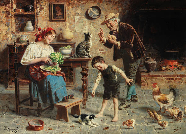 Rural Life Wall Art - Painting - Playtime by Eugenio Zampighi