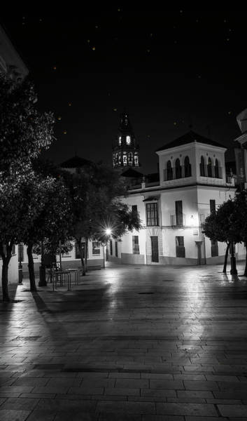 Photograph - Plaza Benavente Night Cordoba Spain Bw by Joan Carroll