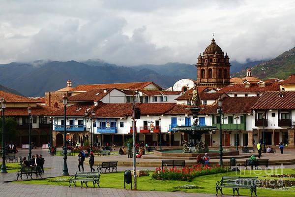 Photograph - Plaza De Armas And La Merced Church Cuzco Peru by James Brunker
