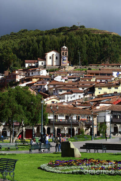 Photograph - Plaza De Armas And San Cristobal Church Cusco Peru by James Brunker