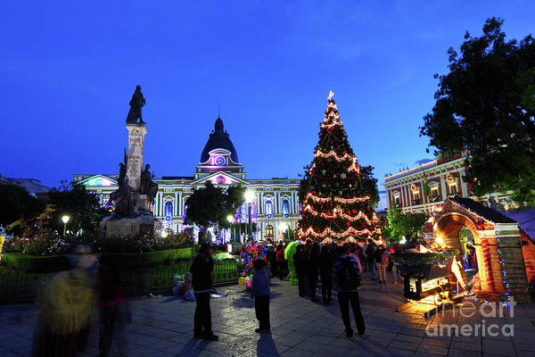 Photograph - Plaza Murillo And Christmas Decorations La Paz Bolivia by James Brunker