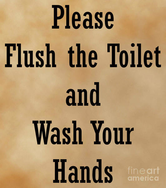 Digital Art - Please Flush The Toilet And Wash Your Hands, Restroom Sign, Bathroom Decor, by David Millenheft