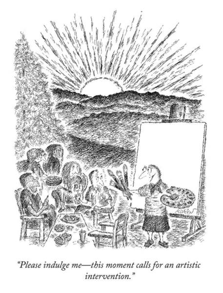 Picnics Drawing - Please Indulge Me by Edward Koren