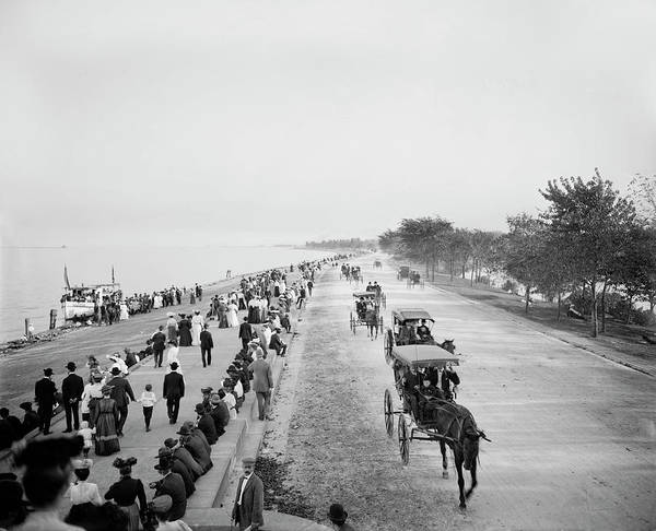 Photograph - Pleasure Driving, Lake Shore Drive In Lincoln Park 1905 by Doc Braham