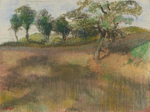 Wall Art - Pastel - Ploughed Field Bordered By Trees by Edgar Degas