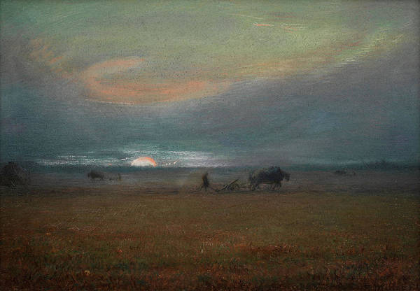Ploughing Painting - Ploughing At Sunset by Jean-Francois Millet
