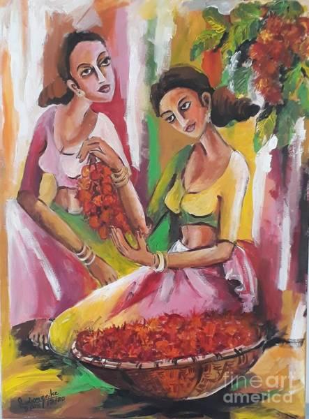 Wall Art - Painting - Plucking Rambuton by Sudumenike Wijesooriya