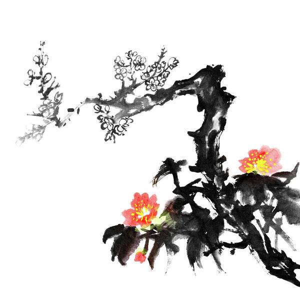 Calligraphy Digital Art - Plum Blossom Flowers by Vii-photo