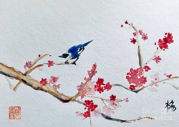 Wall Art - Painting - Plum Blossoms And Blue Bird  by Lavender Liu