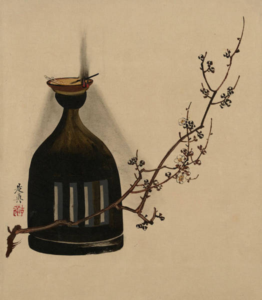 Painting - Plum Branch With Oil Lamp by Shibata Zeshin