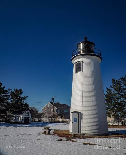 Photograph - Plum Island Lighthouse With Snow by Mary Capriole