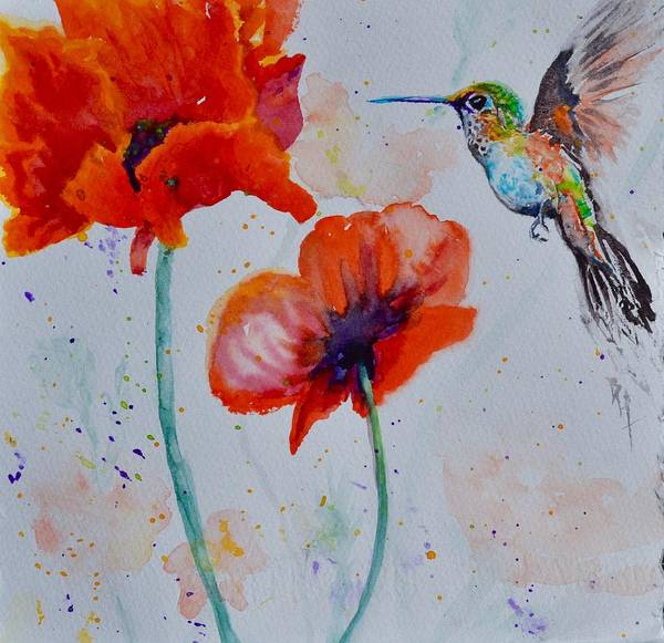 Wall Art - Painting - Plumage And Poppies by Beverley Harper Tinsley