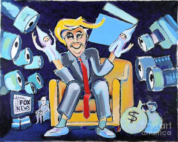 Trump Cartoon Painting - Plutocracy In Action by Jeff Turner