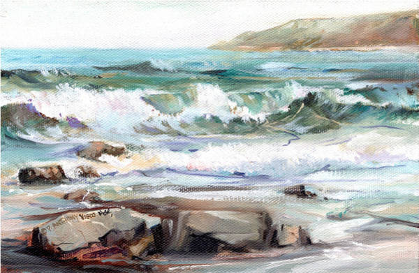 Wave Breaking Painting - Overlooking Plymouth Beach by P Anthony Visco