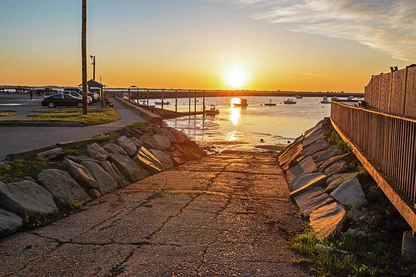Photograph - Plymouth Ma Boat Ramp At Sunrise  Plymouth Harbor by Toby McGuire