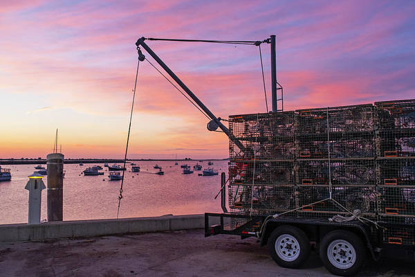 Photograph - Plymouth Ma Sunrise Red Sky Lobster Trap Truck by Toby McGuire
