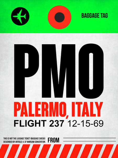 Wall Art - Digital Art - Pmo Palermo Luggage Tag I by Naxart Studio