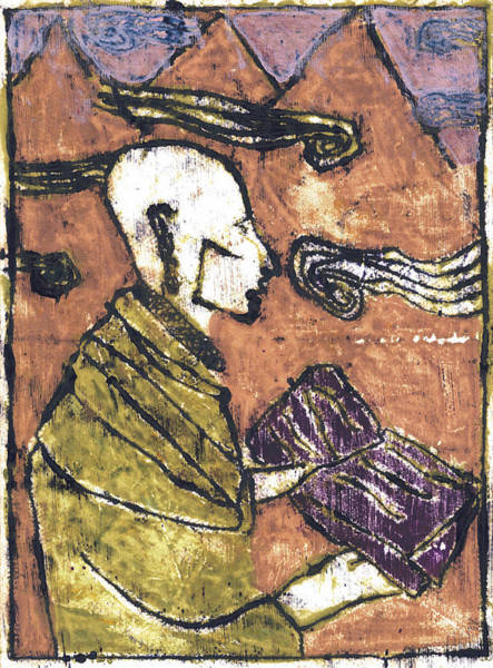 Painting - Poet Reading To Wind Clouds Otd 4 by Artist Dot