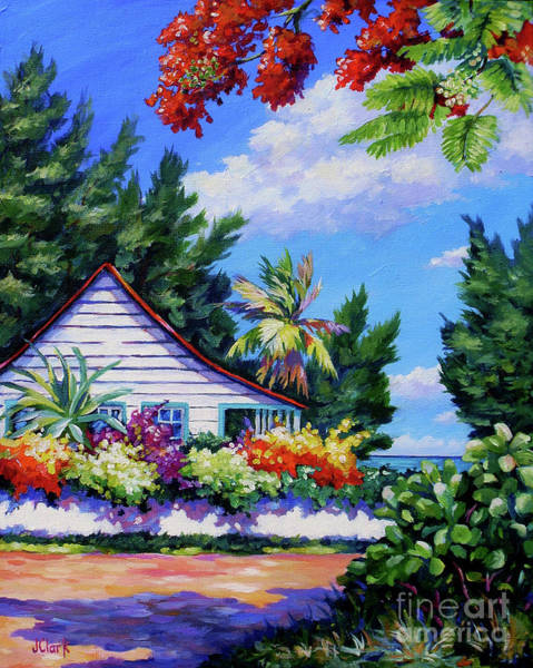 Brac Painting - Poinciana And Cottage by John Clark